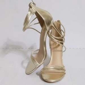Lulu's (7.5) Adriana Gold Strappy Stiletto Heels